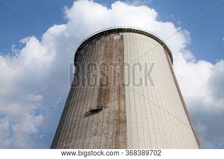 Cooling Tower Of The Cogeneration Plant In Kyiv (ukraine). Working Platform (crane's Cradle, Basket,