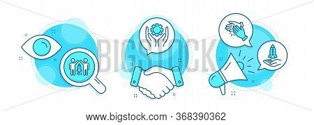 Employee Hand, Crowdfunding And Partnership Line Icons Set. Handshake Deal, Research And Promotion C
