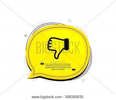 Dislike Hand Icon. Quote Speech Bubble. Thumbs Down Finger Sign. Gesture Symbol. Quotation Marks. Cl