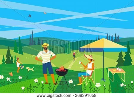 Family Barbecue Countryside Picnic Flat Vector. Summer Outdoors Activity Concept. Rural Scene Cartoo