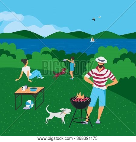 Family Barbecue Bbq Picnic On Nature Flat Vector. Summer Outdoors Activity Concept. River Bank Scene