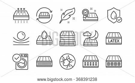 Mattress Line Icons Set. Memory Foam, Pillow, Latex. Breathable, Washable, Bed Tick Icons. Light Wei