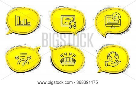 Correct Answer Sign. Diploma Certificate, Save Planet Chat Bubbles. Histogram, Sports Arena And Like