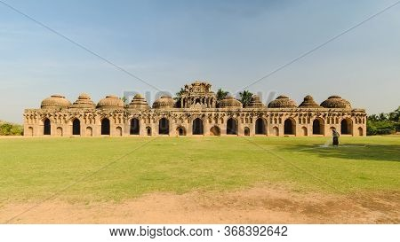 Hampi, India - 17 Dec 2017: An Ancient Elephant Stable Building Made In Sandstone, In The Unesco Wor
