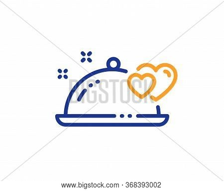 Romantic Dinner Line Icon. Valentines Day Restaurant Food Sign. Couple Relationships Symbol. Colorfu