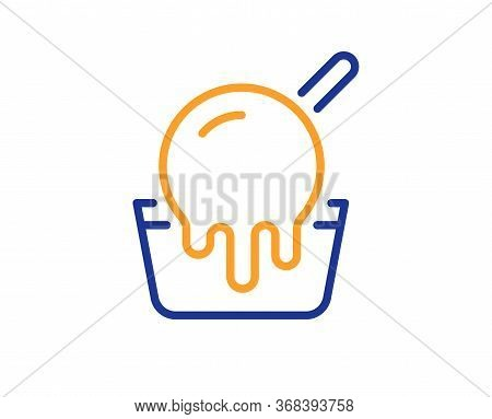 Ice Cream Cup Line Icon. Vanilla Sundae Sign. Frozen Summer Dessert Symbol. Colorful Thin Line Outli