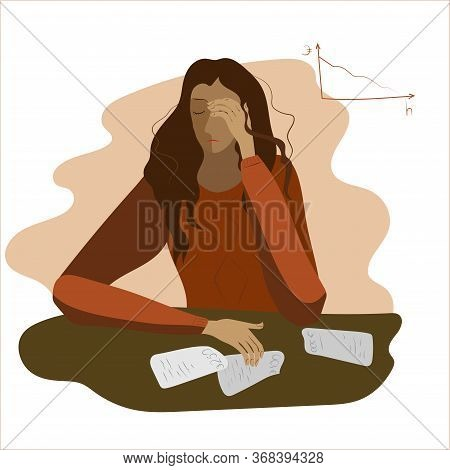 Stressed Woman. The Concept Of Stress Deficiency, Depression, Pressure, Panic. Job Loss, Crisis, Deb