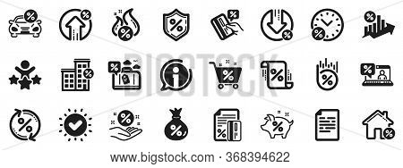 Set Of Investment, Interest Rate And Percentage Diagram Icons. Loan Icons. Car Leasing, Analytics Pl