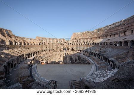 Rome, Italy - 28 Aug 2017: The Central Oval Arena Of The Ancient Roman Coliseum, Or Flavian Ampithea