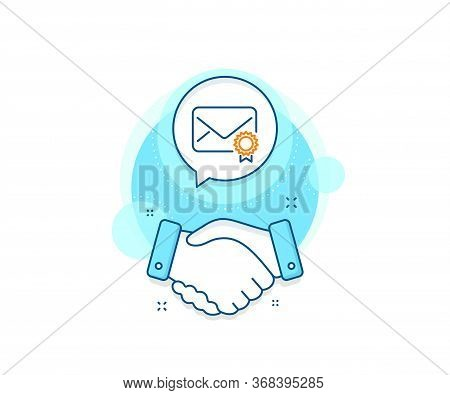 Confirmed Message Correspondence Sign. Handshake Deal Complex Icon. Verified Mail Line Icon. E-mail