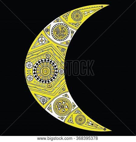 Zentangle Yellow Crescent Moon Vector.zentangle Sun, New Moon And Star Vector Symbols. Colorful Ethn
