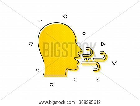Breath Difficulties Sign. Breathing Icon. Respiration Problems Symbol. Yellow Circles Pattern. Class
