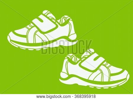 Green Sneakers Realistic Footwear Set For Baby And Children, . Fashionable Sneakers.