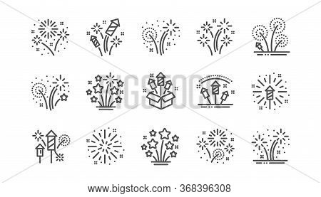 Firework Salute Line Icons Set. Carnival Celebration, Festival Lights And Christmas Explosive Pyrote