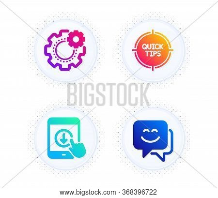 Tips, Cogwheel And Scroll Down Icons Simple Set. Button With Halftone Dots. Smile Face Sign. Quick T