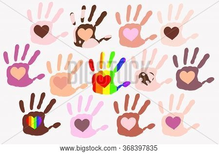 Different Skin Types Colour Hand Prints With Hearts Inside Each Palm On Light Background, People Div