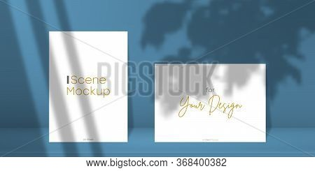 Scene Mockup. Two A4 Paper Sheet With Transparent Overlay Shadow From Window And Jalousie, Leaves An