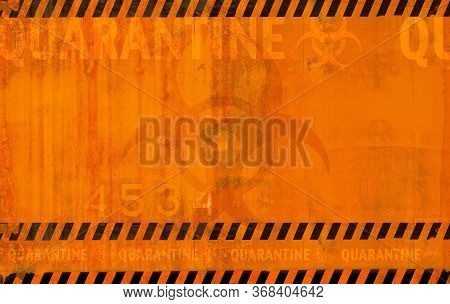 Coronavirus Quarantine Danger Zone Abstract Background. Virus Related Orange Reddish Backdrop With B