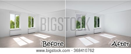 Empty Room With Windows Before And After Tinting