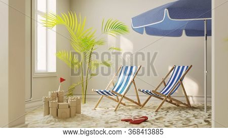 Sand from the beach with a deck chair at home as a quarantine vacation concept during coronavirus lockdown (3D Rendering)