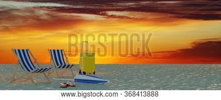 Beach chairs and suitcases in front of sun deck on the beach on vacation in the Caribbean as a travel and vacation concept (3D Rendering)