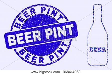Geometric Beer Bottle Mosaic Icon And Beer Pint Seal Stamp. Blue Vector Rounded Distress Stamp With