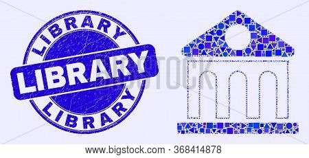 Geometric Library Building Mosaic Icon And Library Seal. Blue Vector Rounded Distress Seal Stamp Wit