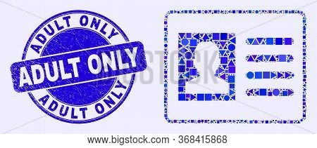 Geometric User Card Mosaic Pictogram And Adult Only Seal. Blue Vector Round Textured Seal Stamp With