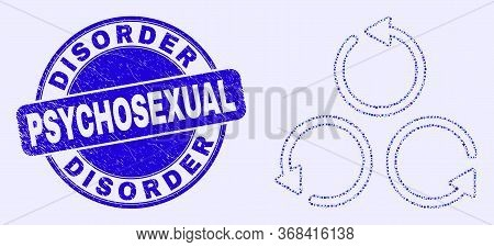Geometric Different Rotation Mosaic Icon And Disorder Psychosexual Stamp. Blue Vector Round Scratche