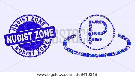 Geometric Rouble Area Mosaic Icon And Nudist Zone Stamp. Blue Vector Round Grunge Watermark With Nud