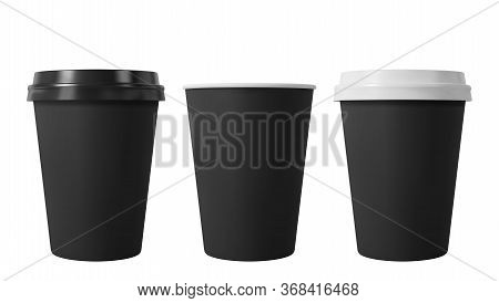 Black Paper Coffee Cups With Black And White Lids. Open And Closed Middle Paper Cup. Realistic Vecto
