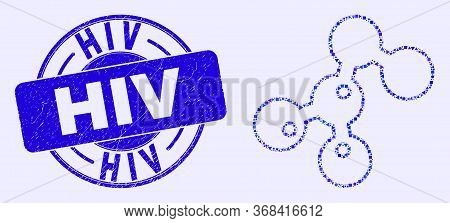 Geometric Microbes Mosaic Pictogram And Hiv Seal Stamp. Blue Vector Round Distress Seal With Hiv Cap