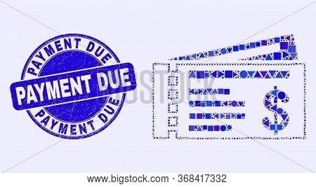 Geometric Dollar Cheques Mosaic Icon And Payment Due Seal. Blue Vector Round Textured Seal Stamp Wit