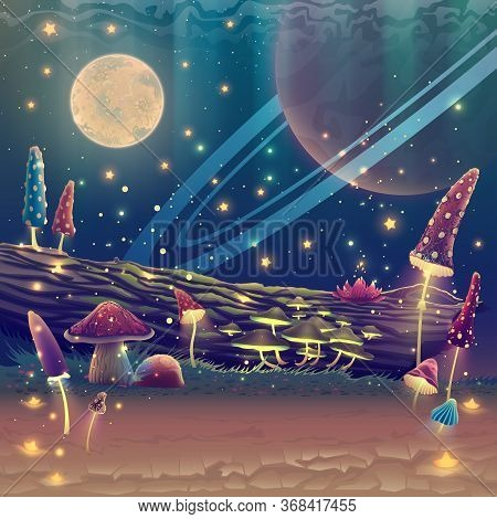 Digital Fantasy Mushroom Garden Or Magic Park Illustration, Night Forest Landscape Art With Stars, M
