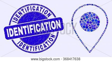 Geometric Map Marker Mosaic Icon And Identification Seal Stamp. Blue Vector Round Distress Seal Stam