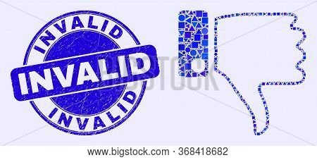 Geometric Thumb Down Mosaic Icon And Invalid Seal Stamp. Blue Vector Round Grunge Seal Stamp With In