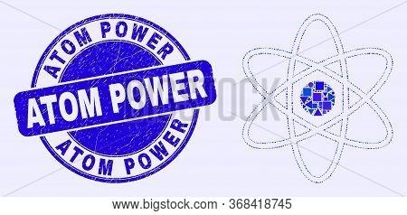 Geometric Atom Mosaic Icon And Atom Power Seal Stamp. Blue Vector Rounded Scratched Seal Stamp With