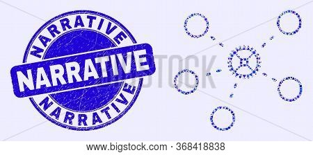 Geometric Gear Links Mosaic Pictogram And Narrative Seal Stamp. Blue Vector Round Distress Seal Stam