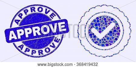 Geometric Approve Seal Mosaic Icon And Approve Seal Stamp. Blue Vector Rounded Distress Seal Stamp W
