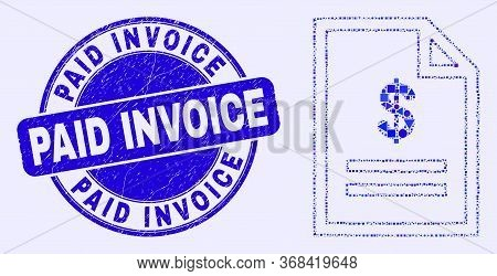 Geometric Price Page Mosaic Pictogram And Paid Invoice Stamp. Blue Vector Round Scratched Seal Stamp