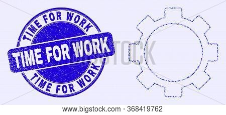 Geometric Setup Tools Mosaic Icon And Time For Work Seal Stamp. Blue Vector Round Distress Seal With