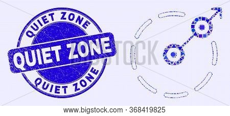 Geometric Radial Escape Border Mosaic Icon And Quiet Zone Seal Stamp. Blue Vector Round Scratched St