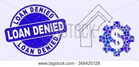 Geometric House Financial Settings Mosaic Pictogram And Loan Denied Seal Stamp. Blue Vector Round Sc
