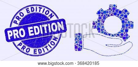 Geometric Gear Service Hand Mosaic Pictogram And Pro Edition Seal. Blue Vector Round Grunge Seal Wit