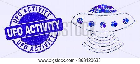Geometric Ufo Mosaic Pictogram And Ufo Activity Seal Stamp. Blue Vector Round Grunge Seal Stamp With