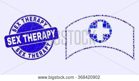 Geometric Medical Cap Mosaic Pictogram And Sex Therapy Watermark. Blue Vector Round Grunge Watermark