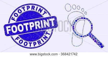 Geometric Footprint Audit Magnifier Mosaic Pictogram And Footprint Seal Stamp. Blue Vector Rounded S
