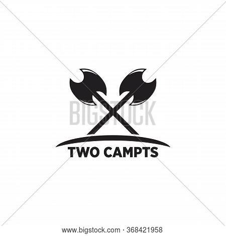 Two Campts Logo Vector And Vintage,wilderness, Wildlife