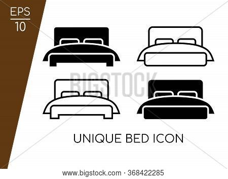 Bed Icon Collection With Modern Concept Isolated On White Background. Consist Of Four Bed Icon Vecto