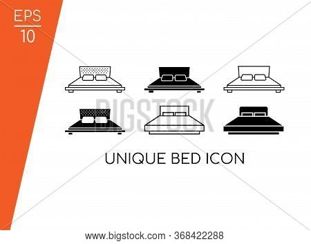 Bed Icon Collection With Modern Concept Isolated On White Background. Consist Of Six Bed Icon Vector